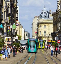 Reims, France - Actually a really nice city. The buses and trams were brightly coloured!