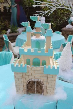 Elsa's ice castle decoration for the tables at a Frozen Birthday Party!  See more party ideas at CatchMyParty.com!
