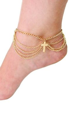 'RIRI' LAYERED GOLD CROSS CHAIN ANKLET Gold Cross And Chain, Cross Chain, Anklet, Bracelets, Collection, Jewelry, Fashion, Charm Bracelets, Jewellery Making
