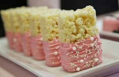 Pink chocolate dipped rice crispies