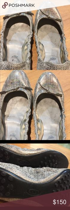 Tods Ballet Flats Silver Size 7 Beautiful shoes but definite signs of wear.  If you have any questions or concerns please feel free to contact me- thanks! Tod's Shoes Flats & Loafers
