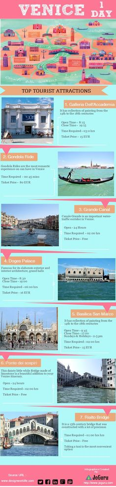 Venice Top Tourist Attractions | #travel #infographic made in @Piktochar Mi visita de Venecia fue de un dia.