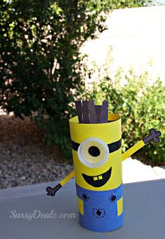 DIY: Cute Despicable Me Minion Toilet Paper Roll Craft For Kids #Recycled Toilet Paper Tube art project | CraftyMorning.com