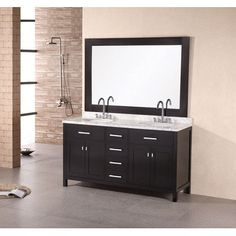 Special Offers - London 61 Double Sink Vanity Set with Four Drawer Cabinet Finish: Espresso - In stock & Free Shipping. You can save more money! Check It (April 30 2016 at 07:25PM) >> http://bathstoreaccessories.net/london-61-double-sink-vanity-set-with-four-drawer-cabinet-finish-espresso/