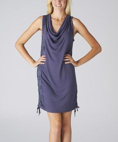 Loving this Perry Blue Lace Ruched Drape Neck Dress on #zulily! #zulilyfinds