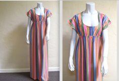 Groovy Vintage 60s 70s Shimmer Stripe Empire Waist by LolaAndBlack