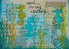 Creat an art journal page as an homage to the sea using TCW Corncob Etching stencil Art Journal Pages, Art Journals, Tropical Art, Bible Art, Sea Creatures, Journaling, Hand Carved, Stencils, Workshop