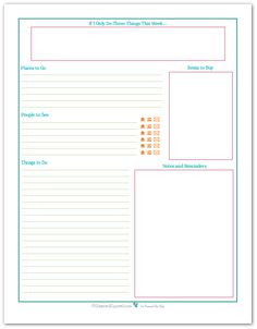 Simple weekly to-do printable. Clean and clutter free.