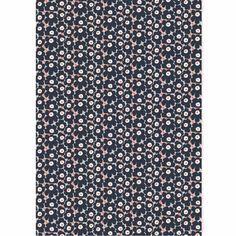 Marimekko Mini-Unikko Dark Grey / Coral Cotton Fabric - Click to enlarge