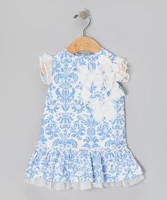 Frills and chiffon butterflies bring the best out of this frock's design. Simple to put on, it has angel sleeves and a peek of tulle that adds a girlish bit of volume. Body: 100% cottonTrim: 100% polyesterMachine wash; hang dryImported