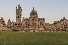 The Lukshmi Vilas Palace in Vadodara, Gujurat, still home to the present generation of the Gaekwad family, who ruled the city earlier. It is built in four different styles of architecture,. India Travel, Beautiful Paintings, Mosque, More Photos, Big Ben, Barcelona Cathedral, The Good Place, Travel Photography, Louvre