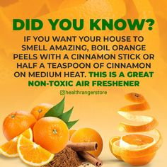 This is a great non-toxic air freshener Boil Orange Peels, How To Make Orange, Potpourri Recipes, Natural Air Freshener, House Smells, Saving Tips, Time Saving, Diy Cleaning Products, Home Recipes