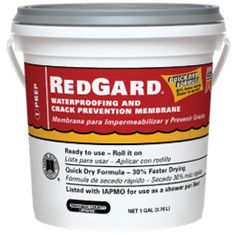 RedGard waterproofing for showers and anti-fracture membrane.