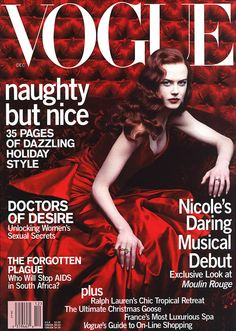 Nicole Kidman Vogue US December 2000, in publicity for Moulin Rouge