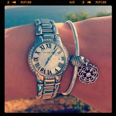 Nice Pandora bracelet with matching silver watch. Locket Necklace, Ladies Watches, Rolex Watches, Wrist Watches, Michael Kors Watch, Engagement Rings, Sterling Silver, My Style, Bracelets