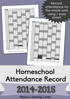Free Homeschool Attendance Record 2014-2015