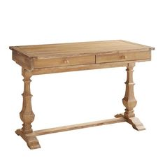 Bradding finds its way into your home office with a desk that was made for getting things done. Crafted of hardwoods, it features two drawers with a warm finish and urn-shaped trestle legs. Home Office Decor, Unique Home Decor, Home Decor Items, Home Decor Accessories, Office Ideas, Grey Desk, Black Desk, Trestle Legs, Business Furniture