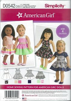 Simplicity 8192 Dress Doll Clothes Pattern for 18 by SodaCityFinds