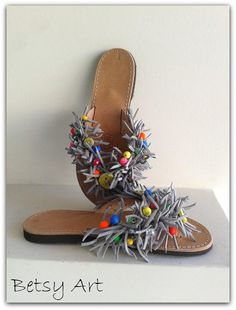 Gray suede leather sandalsflip flop suede greek by betsyarts, €48.00