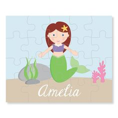 Mermaid Personalized Puzzle for Girl  Puzzle by tickledpeachstudio