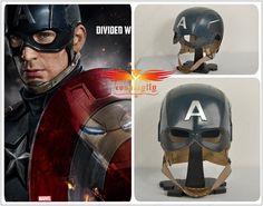 Captain America Civil War Steve Roger Blue Helmet Hat Cosplay Prop FRP Metal