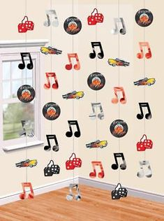 6 x 7ft Rock n Roll 1950s Music Hanging String Decorations 50's Birthday Party
