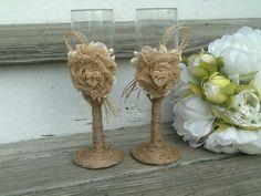 Rustic wedding glasses