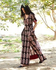 Black Paisley Print Wrap Maxi I Shop at :http://www.thesecretlabel.com/khara-kapas