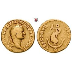 Römische Kaiserzeit, Domitianus, Aureus 81, ss: Domitianus 81-96. Aureus 18 mm 81 Rom. Kopf r. mit Lorbeerkranz IMP CAES DOMITIANVS… #coins