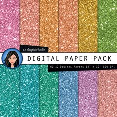 Glitter digital paper Colorful Glitter by GraphicsJunkie on Etsy, $4.80