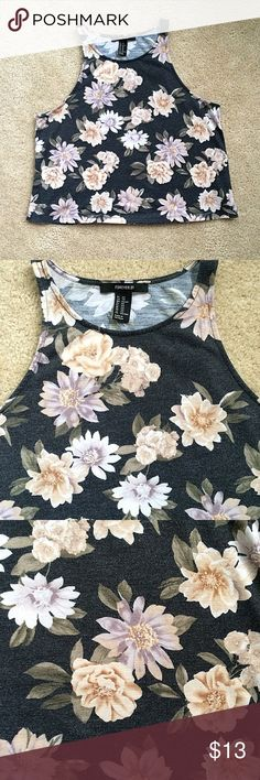 Floral High Neck Crop Top Gorgeous dark pewter gray with pastel yellow and blue floral print. Size XS from forever 21. Perfect condition Forever 21 Tops Crop Tops