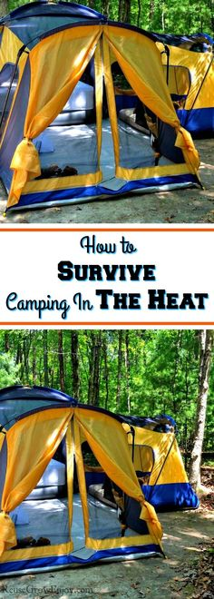 to go camping but the summer heat is to much? Check out these tips on How to Survive Camping In The Heat!Want to go camping but the summer heat is to much? Check out these tips on How to Survive Camping In The Heat! Camping Snacks, Camping Bedarf, Camping Set Up, Winter Camping, Camping Activities, Camping With Kids, Family Camping, Outdoor Camping, Camping Storage