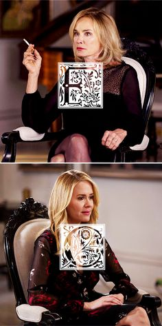 Fiona Goode + Cordelia Fox: dy·nas·ty [dahy-nuh-stee; British also din-uh-stee] noun, plural dy·nas·ties. 1. a sequence of rulers from the same family, stock, or group #ahs #coven