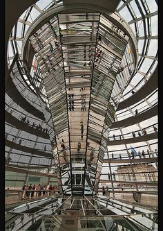 interior of the Reichstag Dome Building in Berlin, Germany