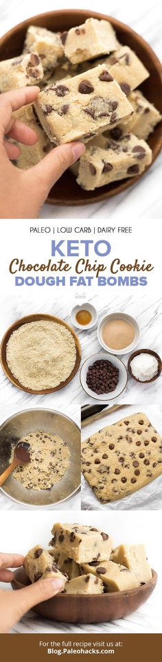 Staying in ketosis is a breeze with these chocolatey keto cookie dough fat bombs! If you love chocolate chip cookie dough, you'll go nuts over this recipe for keto-friendly fat bombs Keto Cookies, Keto Cookie Dough, Keto Chocolate Chip Cookies, Chocolate Chip Cookie Dough, Paleo Vegan, Paleo Dessert, Keto Desserts, Healthier Desserts, Gluten