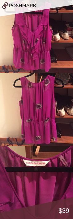 Fuchsia Rebecca Taylor silk blouse 👚 💯 % silk AUTHENTIC Rebecca Taylor tank top blouse. Very flattering with a v-neck!. Great for the office or a night out on the town! Rebecca Taylor Tops Blouses