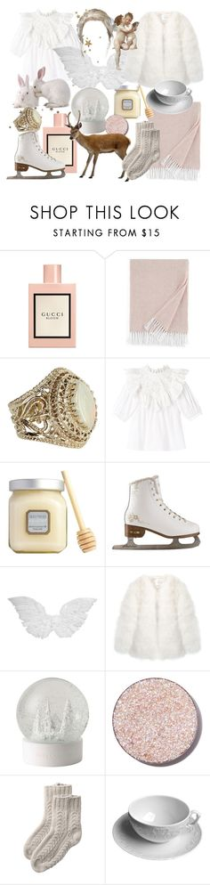 """""""winter"""" by babeangel3 ❤ liked on Polyvore featuring Gucci, Sferra, Vintage, Rebecca Taylor, Laura Mercier, Stine Goya, Wedgwood, Glitter Injections, Toast and Anna Weatherley"""