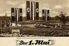 "Nazi Germany celebrated the  greatest Nazi+Fascistic date...1st of May ""DAY OF WORKERS"" or ""DAY OF THE WORK""...literally same date with identical ""philosophy"" with same hellish tools in every ray of life and dimension...100% like Communists...this is propaganda card of Hitler`s ""new visions"" for the World"