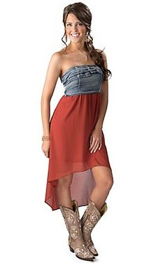 Hot & Delicious® Women's Denim and Burnt Orange Hi-Lo Strapless Dress | Cavender's Boot City