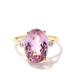 Minas Gerais Kunzite Ring with Diamond in 14k Gold 7.74cts