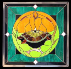 Beautiful Turtle Island Stained Glass Art by Kitigan Artist Leroy Riley | #Kitigan #Art