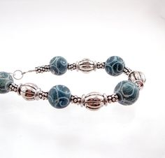 Teal and Silver Bracelet by TouchOfSilver on Etsy, $24.00