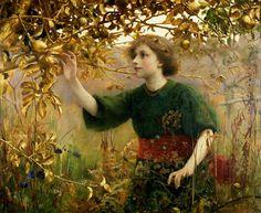 "Thomas Cooper Gotch (British, 1854-1931), ""A Golden Dream""♥"