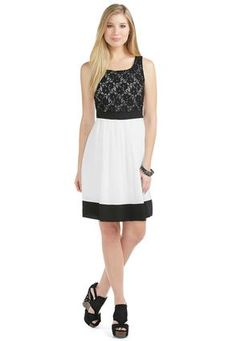 Cato Fashions Sheer Lace Bodice Colorblocked Dress #CatoFashions #CatoSummerStyle Needs a layering top and a skirt extender to make it modest!