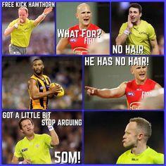 #freekickhawthorn Funny Sports Memes, Sports Humor, Funny Memes, Jokes, Football Gif, Football Memes, Collingwood Football Club, Australian Football League, Free Kick