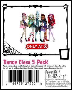 Dance Class 5 pack featuring 2 exclusive dolls. Gil in his second release and Rochelle in her Dance Class atire. Thing to note Target recycles DPCI numbers so if your store shows it in stock CALL FIRST it may be the Skull Shores or Gloom Beach 5 pack.