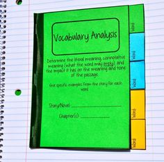 Vocabulary analysis mini tabbed book for interactive notebooks. Interactive Notebooks Kindergarten, Interactive Journals, Vocabulary Strategies, Reading Strategies, Vocabulary Games, Reading Skills, Reading Comprehension, Middle School Reading, Middle School English