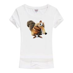 T-shirt women fashion 2017 hot sell The Ice Age Squirrel Printed Hipster t shirt Knitted O-Neck short sleeves Cotton  shirt A171