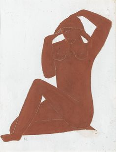 Henri Laurens (French, 1885-1954), Femme assise se coiffant. Gouache on cardboard.