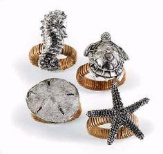 Sea-life-Seahorse-Turtle-Metal-Napkin-Rings-Set-4-Mud-Pie-Coastal-Beach-Decor